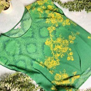 CAbi Green Yellow Mixed Pattern Blouse Top
